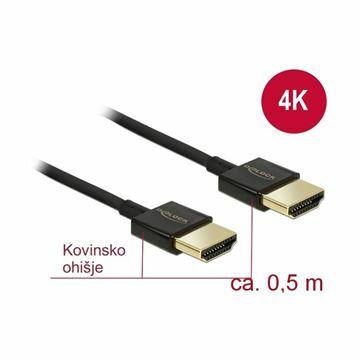 Slika HDMI kabel z mrežno povezavo   0,5m Delock črn High Speed Ultra HD 4K slim