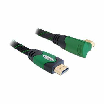 Slika HDMI kabel z mrežno povezavo kotni 1m 4K zelen Delock
