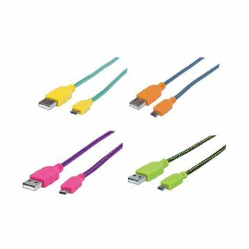 Slika Kabel USB A-B mikro  0,5m Manhattan bombažna zaščita, barvni