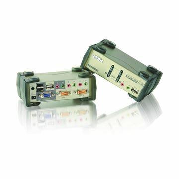 Picture of KVM  stikalo  2:1 namizni VGA/USB/AVDIO + USB hub s kabli CS1732B Aten