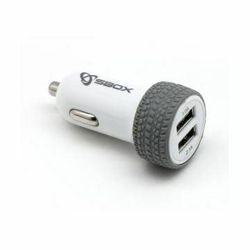 Slika Pretvornik USB - 12V 3.1A avtomobilski 2xUSB bel SBOX guma