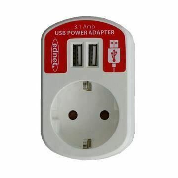 Slika Pretvornik USB - 220V 3.1A 2xUSB+schuko bel Ednet