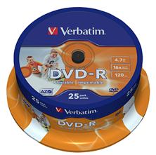 Slika DVD-R 4,7Gb 16x 25-cake printable Verbatim