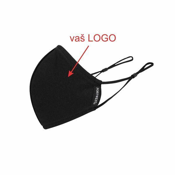 Picture of Pralna nastavljiva maska, črna z vašim enobarvnim logotipom