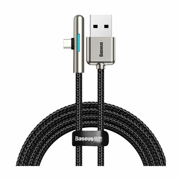 Kabel USB A-C 2m 40W LED kotni črn Baseus CAT7C-C01