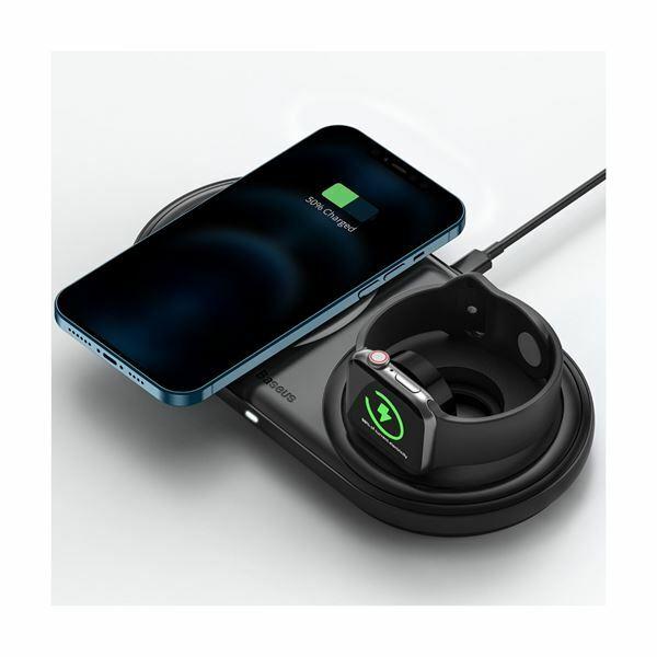 QI brezžični hitri polnilec za Apple 2v1 črn + kabel + napajalnik 24W Baseus WXPL-B01