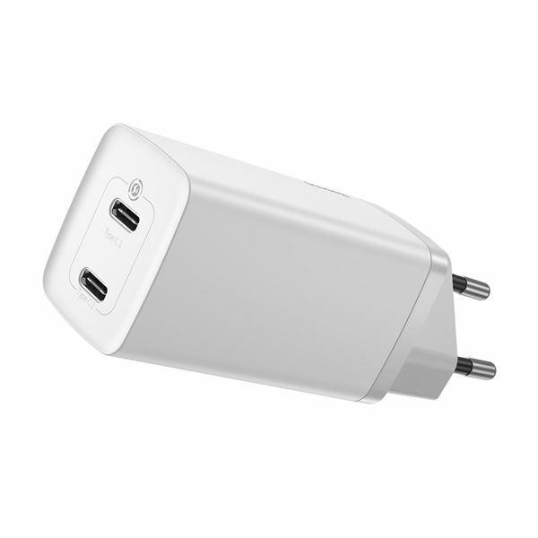 Pretvornik USB - 220V 65W USB 2x Tip C GaN2 lite Quick Charger bel Baseus CCGAN2L-E02