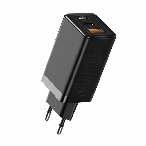 Pretvornik USB - 220V 65W USB 2x Tip C 1x Tip A, GaN2 Pro QC črn Baseus CCGAN2P-B01
