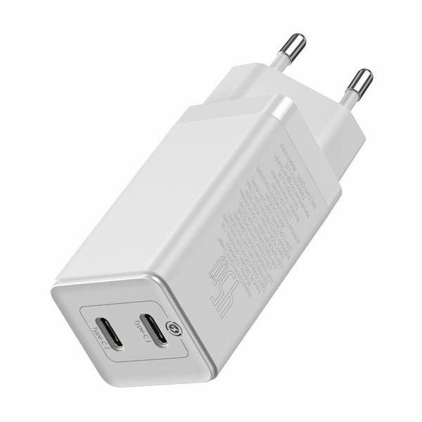 Pretvornik USB - 220V 45W USB 2x Tip C GaN2 Quick Charger + kabel, bel, Baseus CCGAN-M02