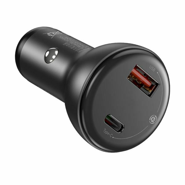 Pretvornik USB - 12V avtomobilski, 45W 1x Tip A, 1x Tip C + kabel, črn, Baseus TZCCBX-C0G