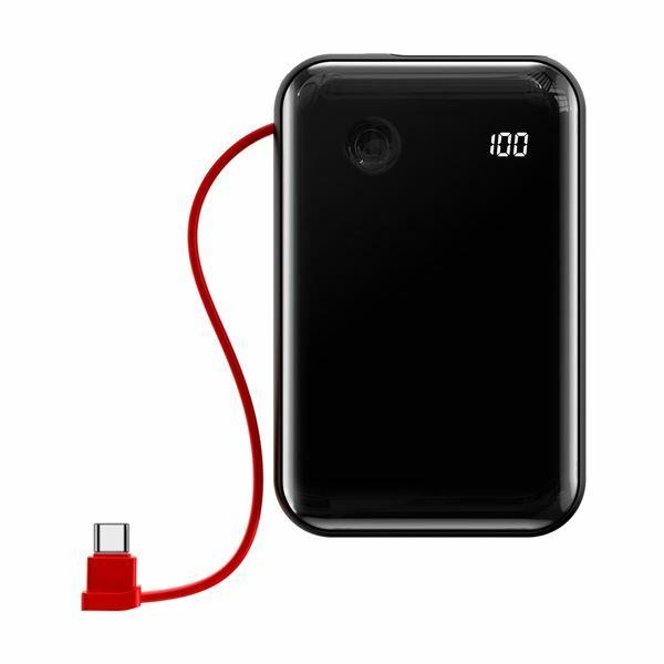 Napajalnik mobilni Baseus Power Bank 10.000, 3A, vgrajen Tip C kabel, rdeč PPXF-A09