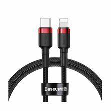 Kabel Apple USB C/Lightning 1m PD 20W Cafule rdeč+črn pleten Baseus CATLKLF-91