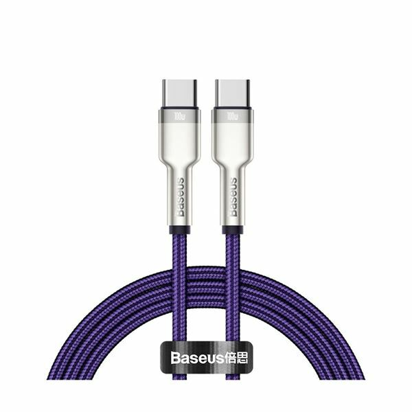 Kabel USB C-C 1m 100W 20V5A Cafule Metal vijoličen pleten Baseus CATJK-C05