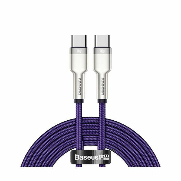 Kabel USB C-C 2m 100W 20V5A Cafule Metal vijoličen pleten Baseus CATJK-D05