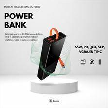 Slika Napajalnik mobilni Baseus Power Bank 20.000, 65W, PD, QC3, SCP, vgrajen Tip C
