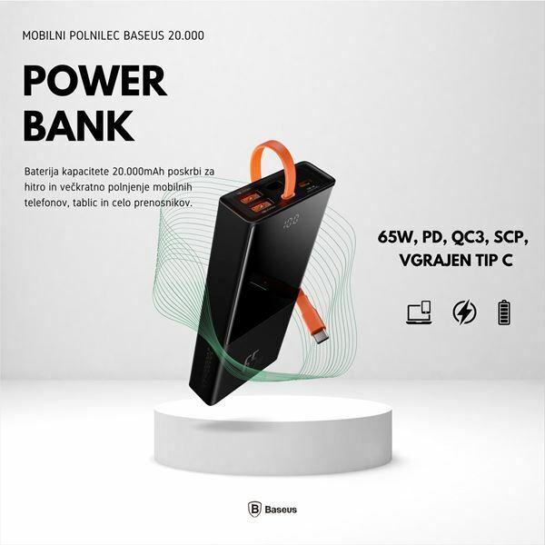 Picture of Napajalnik mobilni Baseus Power Bank 20.000, 65W, PD, QC3, SCP, vgrajen Tip C